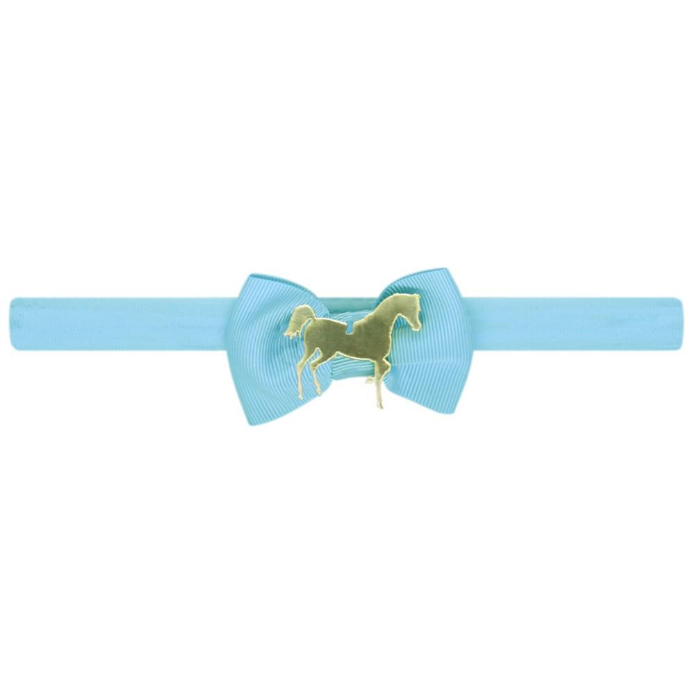 Faixa de Cabelo Para Bebê Azul Claro Com Lacinho e Cavalo
