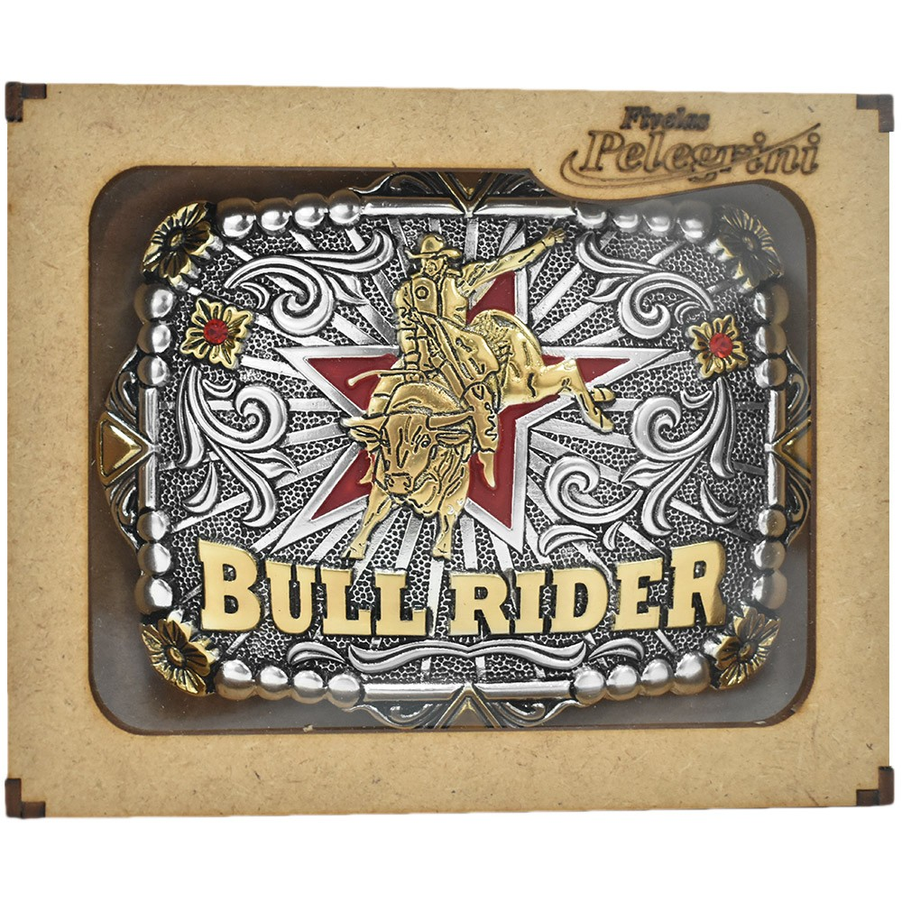 Fivela Pelegrini Boiadeira Bull Rider Red Star