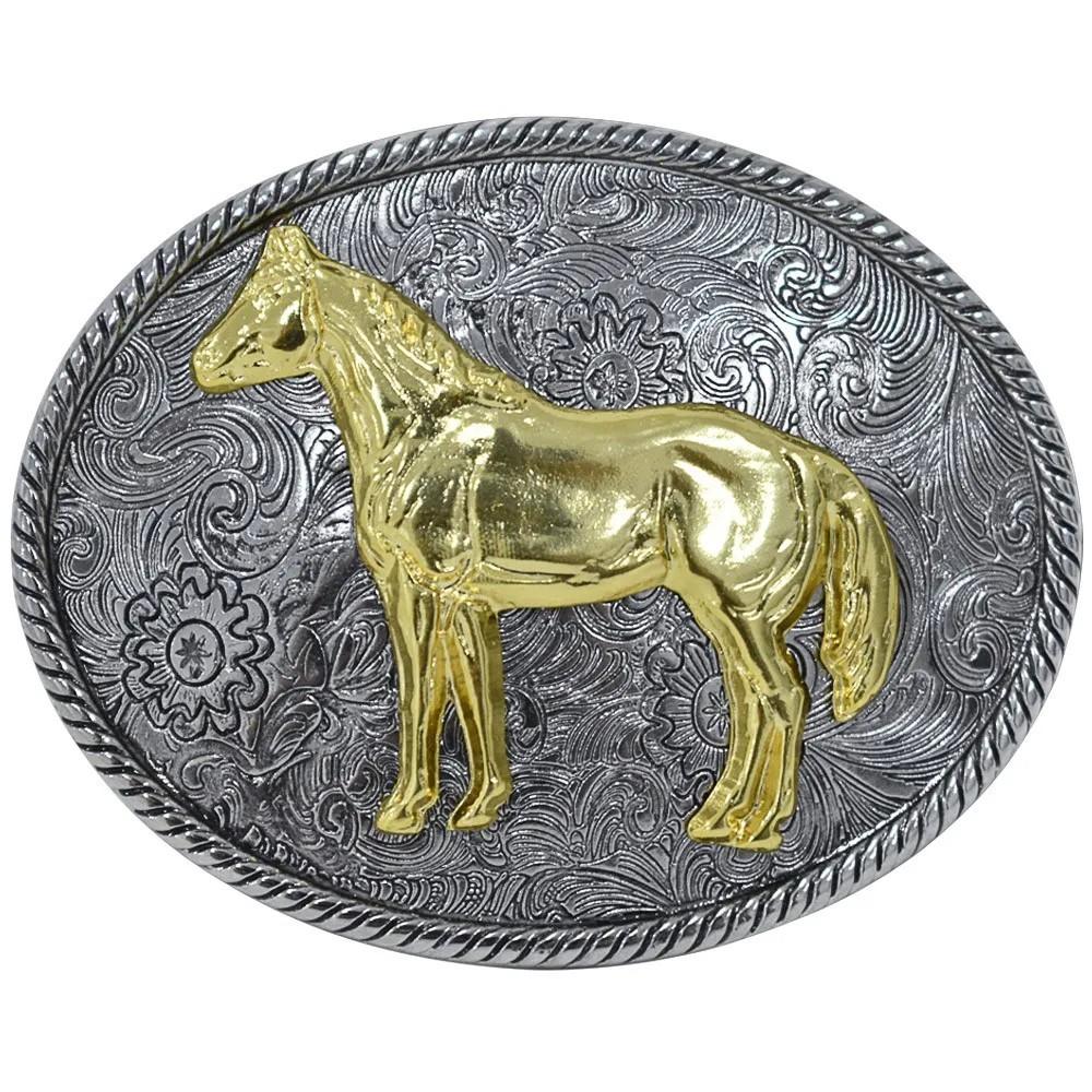 Fivela Pelegrini Boiadeira Cavalo Dourado com Arabescos