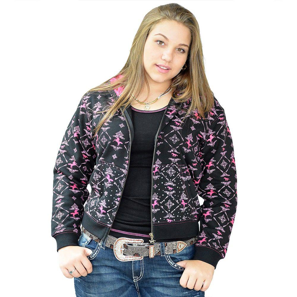 Jaqueta em Moletom Feminina Juvenil Importada Preta