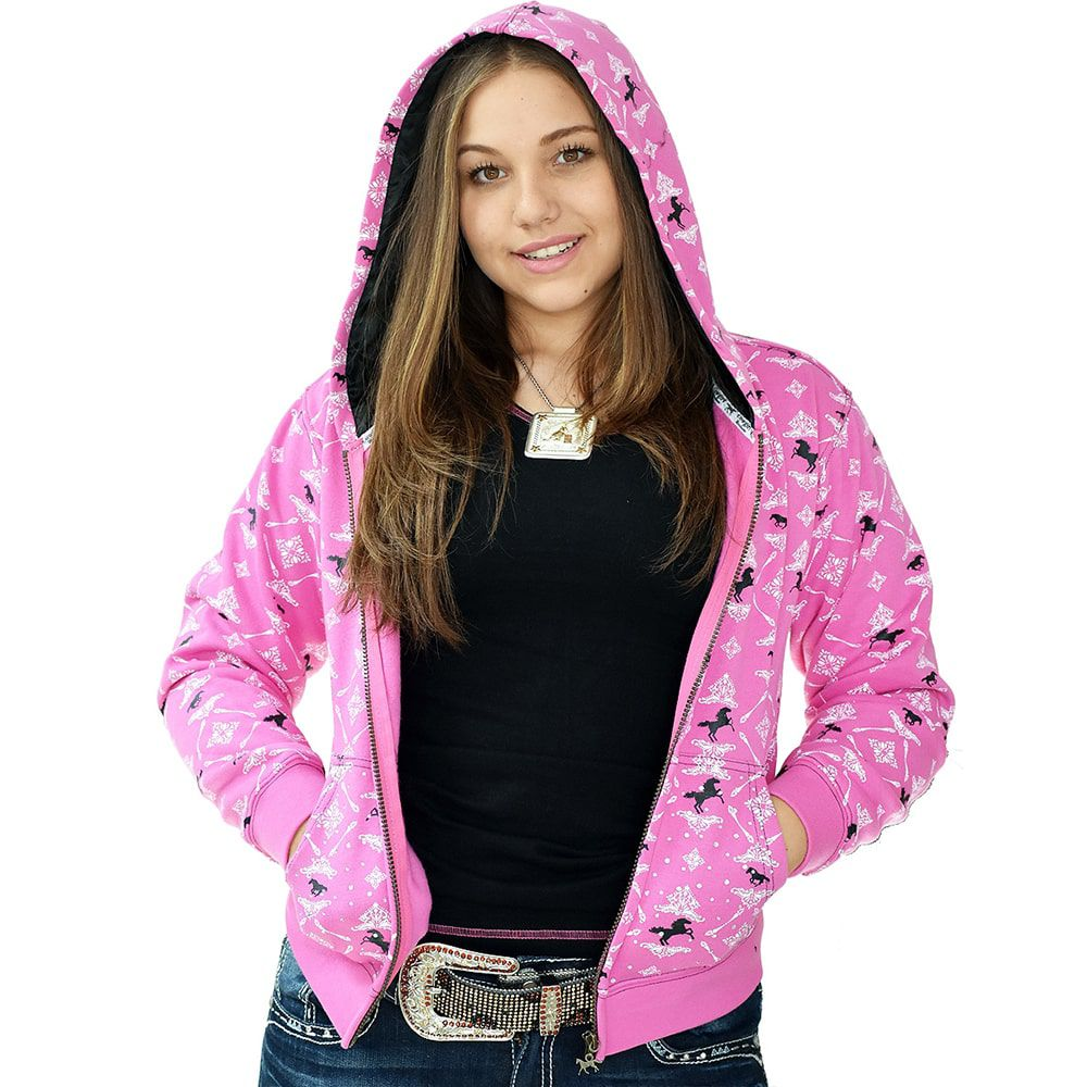 Jaqueta em Moletom Feminina Rosa com Cavalos e Strass