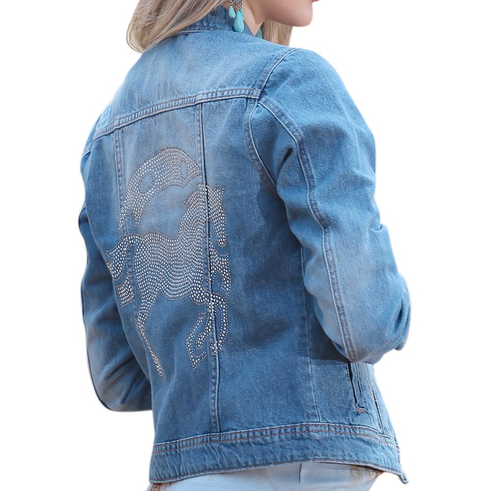 Jaqueta Feminina Jeans Cowboys Ferraduras e Cavalo em Strass