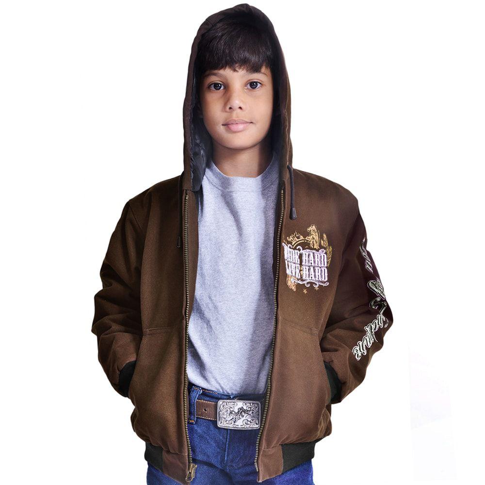 Jaqueta Infantil Marrom Bordada Vida do Cowboy