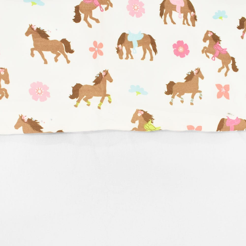Conjunto Lençol Solteiro Cavalos Arreados e Flores