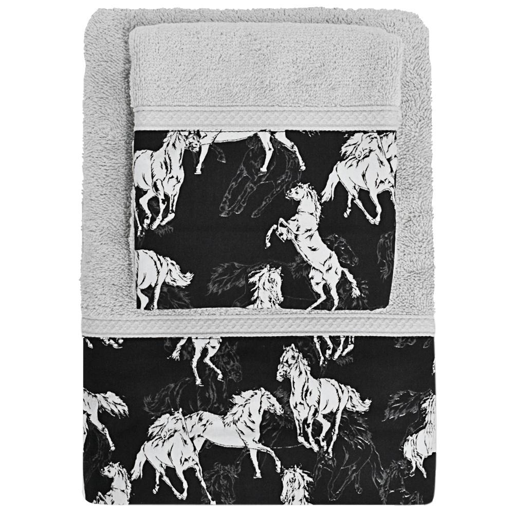 Jogo de Toalhas Cavalos Cowboys Cinza