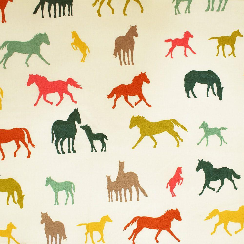 Conjunto Lençol Cowboys Bege Estampa Cavalos Coloridos