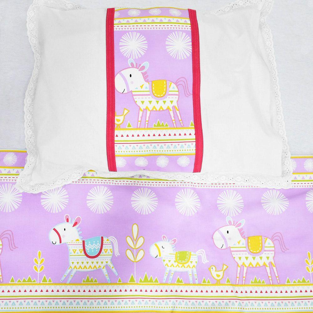 Conjunto de Lençol Para Berço Cavalos de Piñata roxos