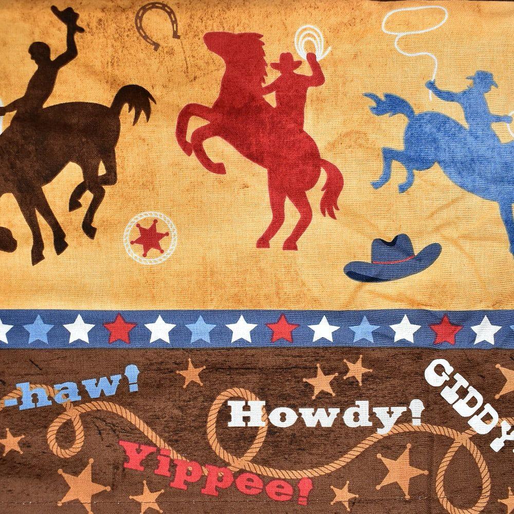 Jogo de Lençol Country Cowboys Marrom de Solteiro Estampa Colorida Rodeio