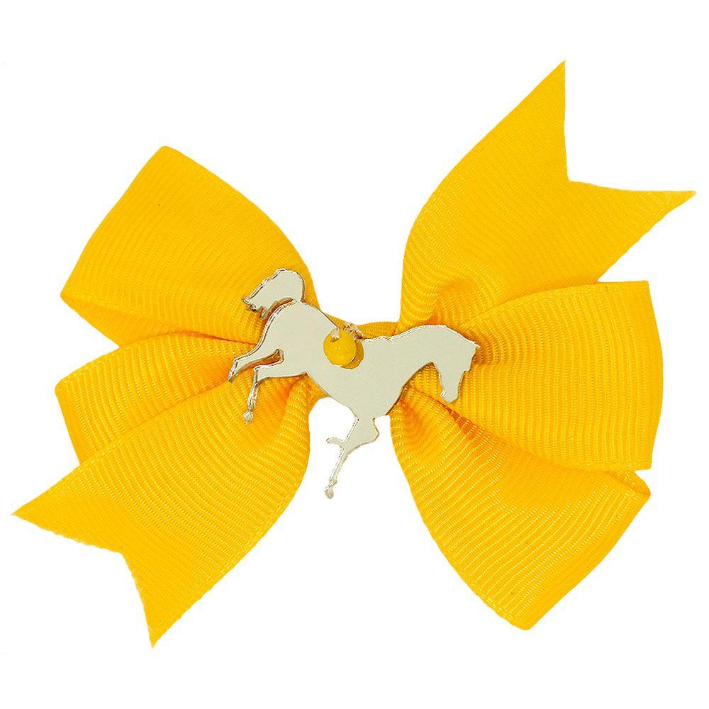 Lacinho Amarelo Pontas com Presilha Média