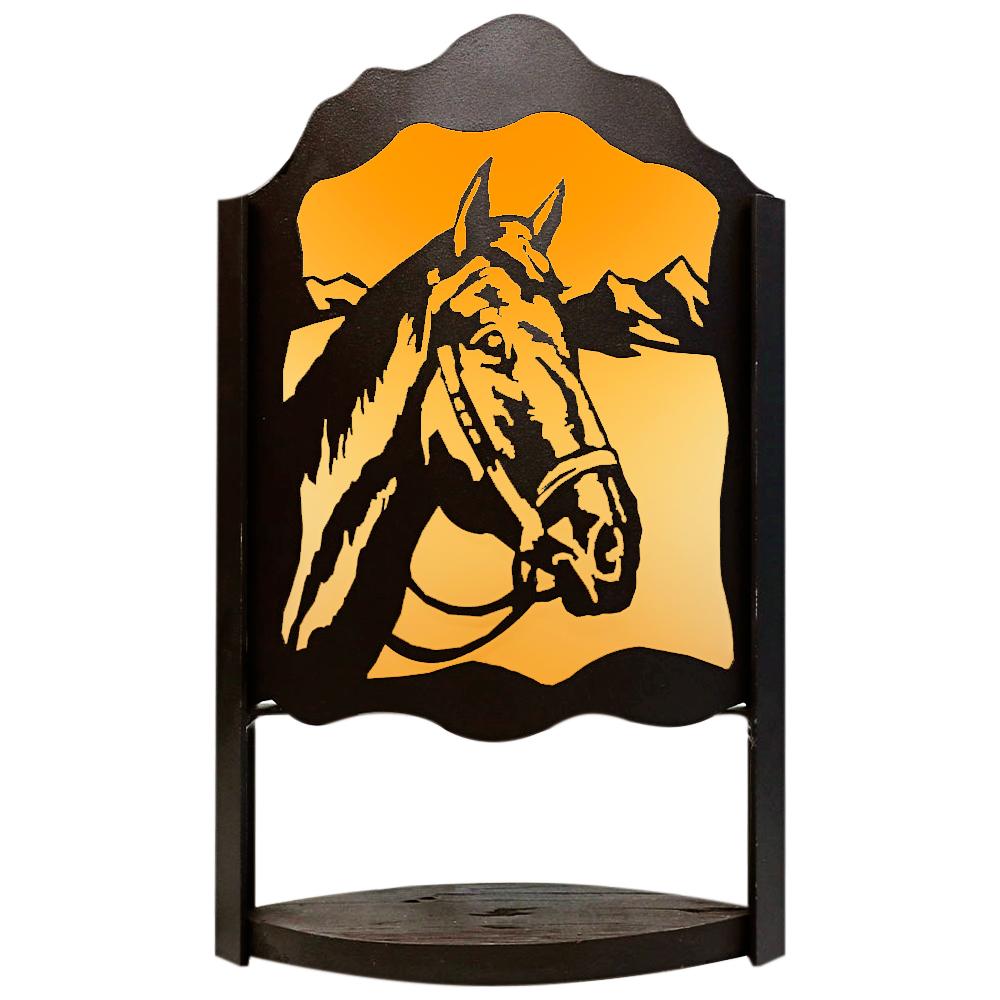 Luminária Cabeça de Cavalo Marrom Importada em Alumínio