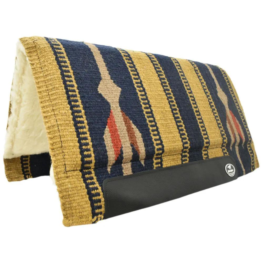 Manta de Lã Boots Horse Para Sela Azul Marinho e Mostarda