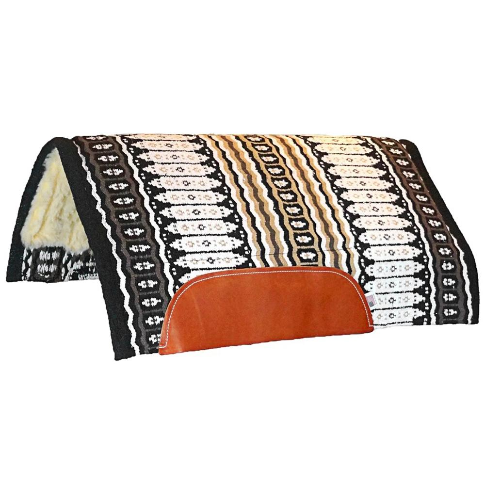 Manta de Lã Mustang Navajo Importada Marrom, Preta e Bege