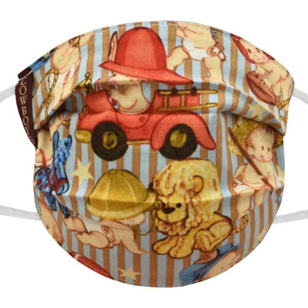 Máscara Infantil Cowboys Listrada Azul e Marrom