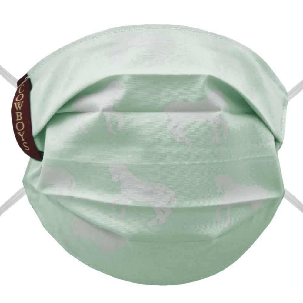 Máscara Infantil Cowboys Verde Água Cavalos Brancos