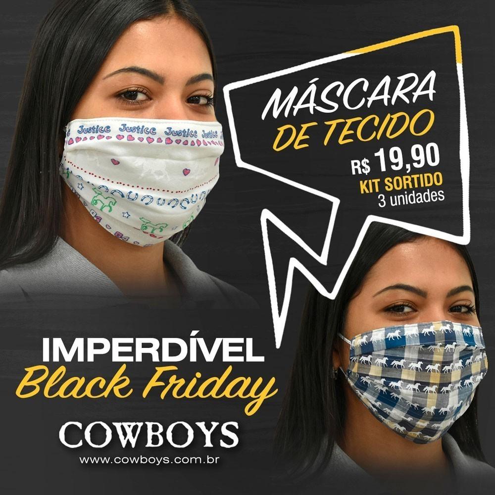 Máscara Kit com 3 Unidades Sortidas Cowboys