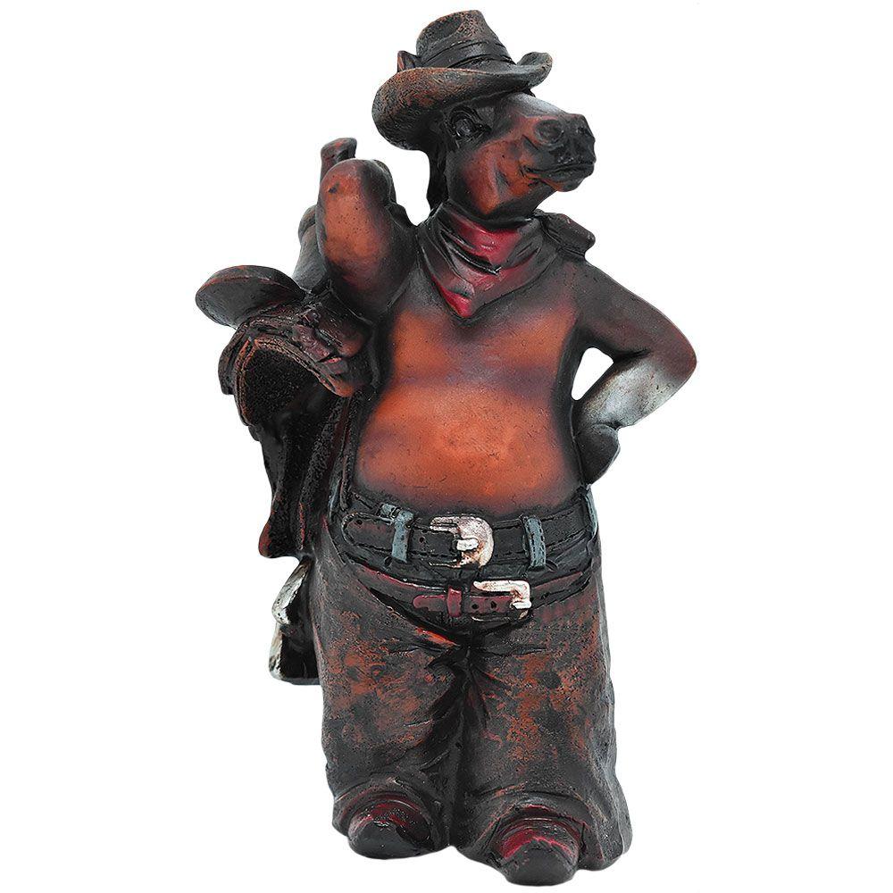 Mini Estatua Importada Cavalinho Cowboy