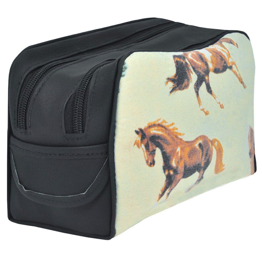 Necessaire Cowboys 2 Repartições Bege Estampa de Cavalos