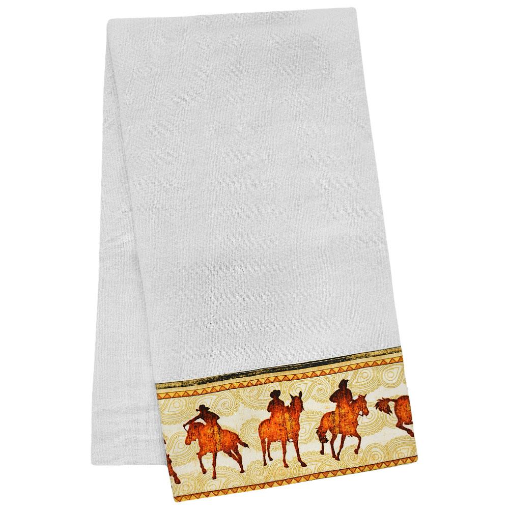 Pano de Prato Branco Barrado com Cowboys e Cavalos