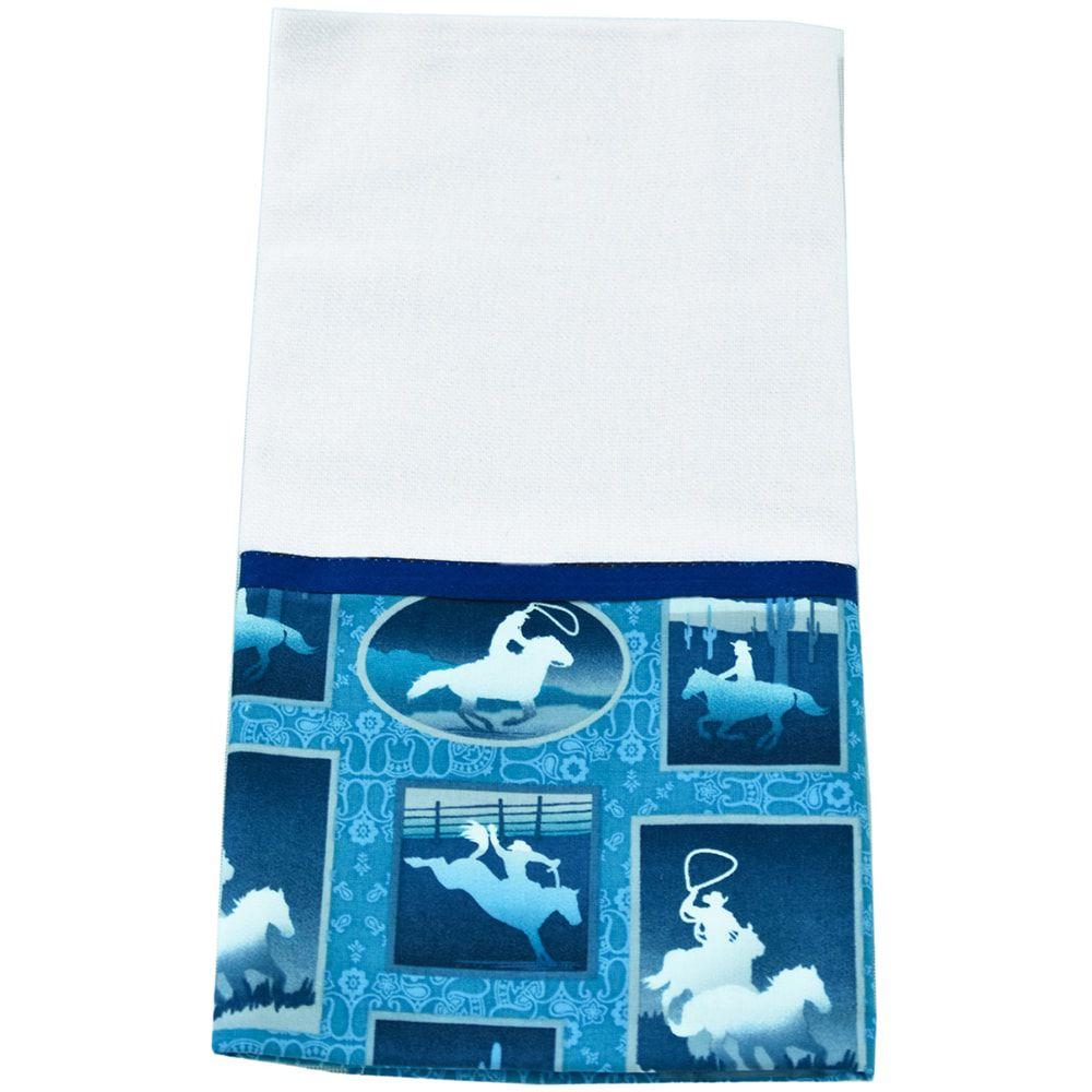 Pano de Prato Branco Com Barrado Azul Montaria E Laço