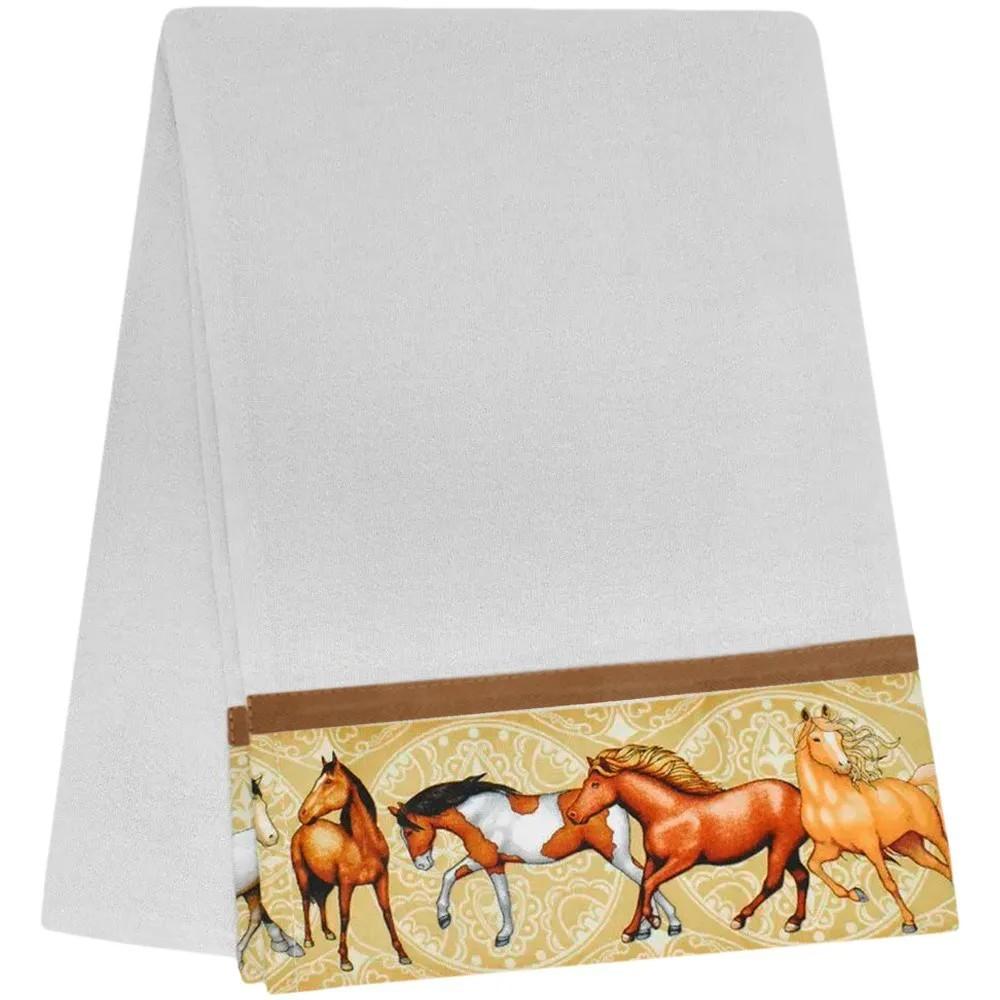Pano de Prato Branco com Barrado Bege Cavalos
