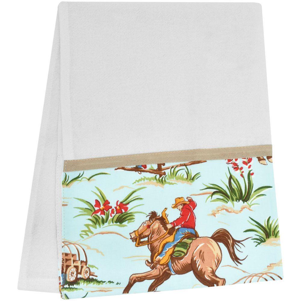 Pano de Prato Branco com Barrado Cowboy Cavalgando
