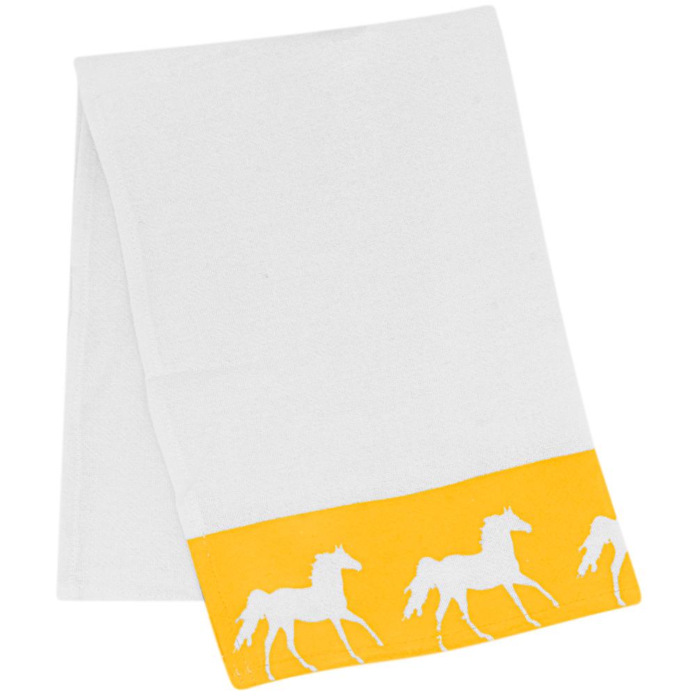 Pano de Prato Branco Estampa Amarela com Cavalos Brancos