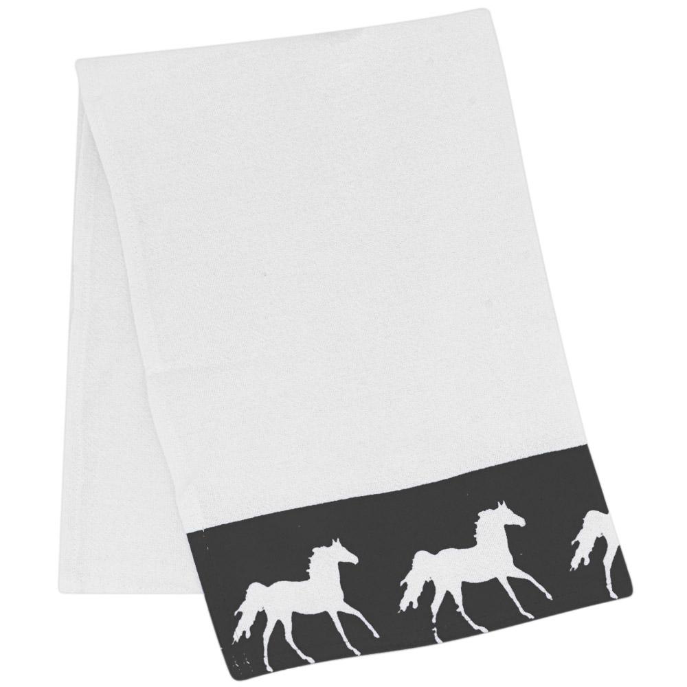 Pano de Prato Branco Estampa Chumbo com Cavalos Brancos
