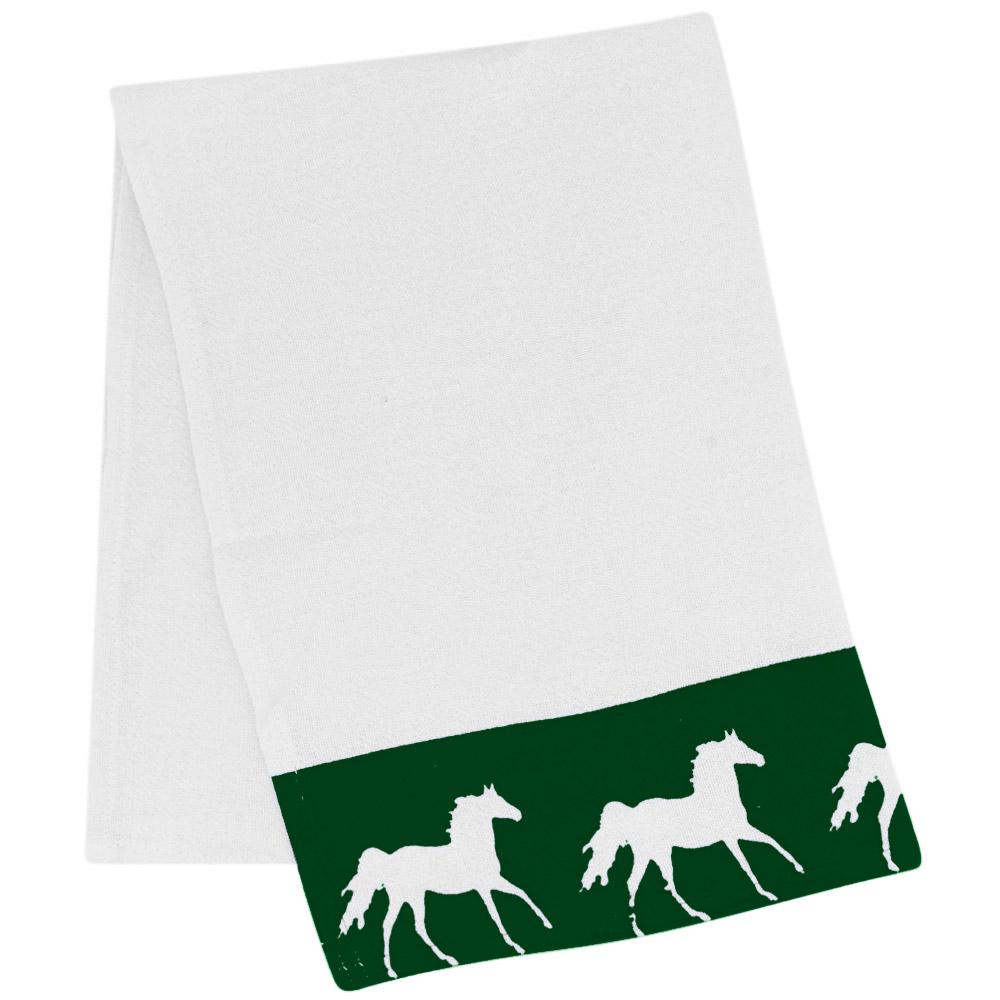 Pano de Prato Branco Estampa Verde com Cavalos Brancos