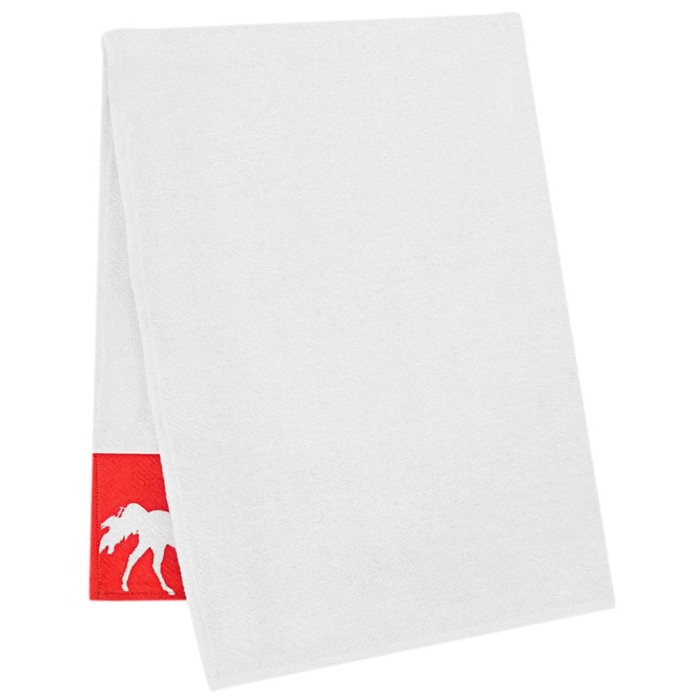 Pano de Prato Branco Estampa Vermelha com Cavalos Brancos