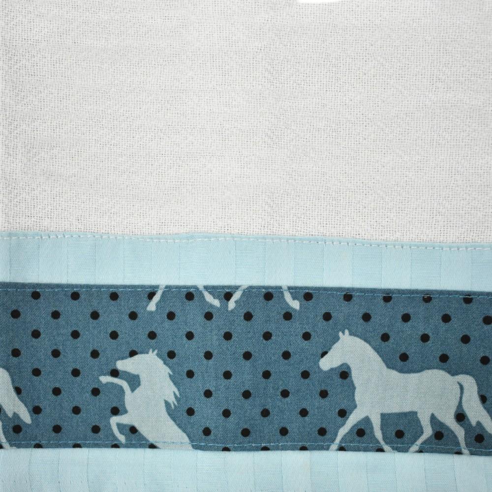 Pano de Prato Cowboys Barrado Azul Cavalos e Poá