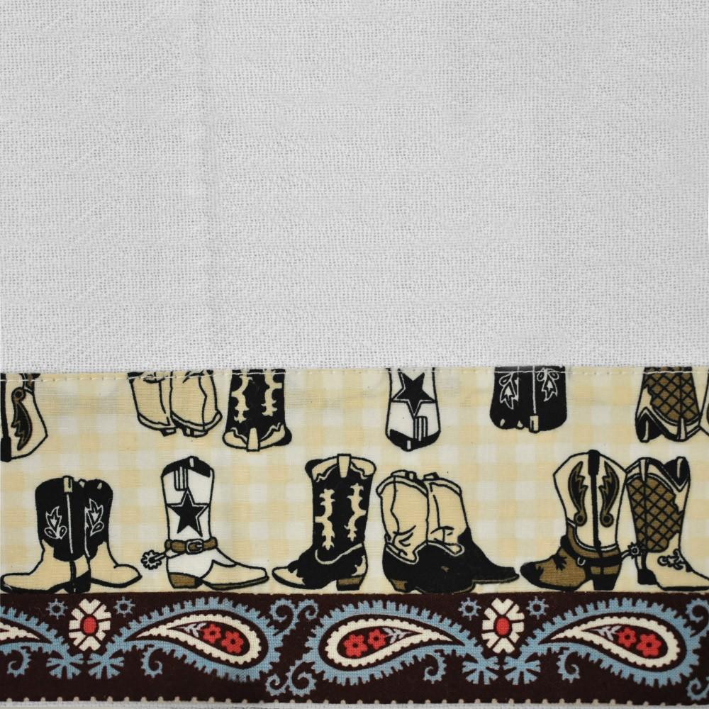 Pano de Prato Cowboys Barrado Paisley com Botas