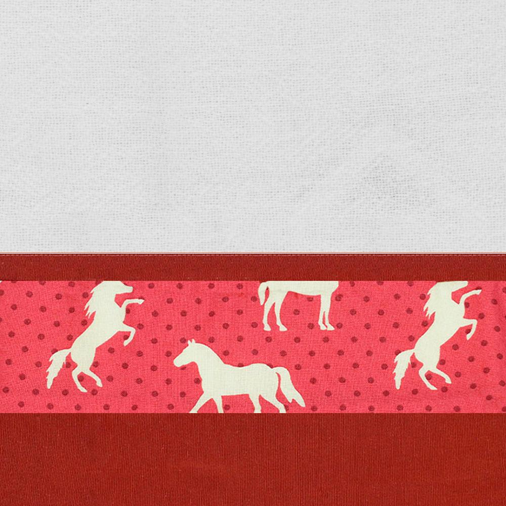 Pano de Prato Cowboys Barrado Vermelho Cavalos e Poá