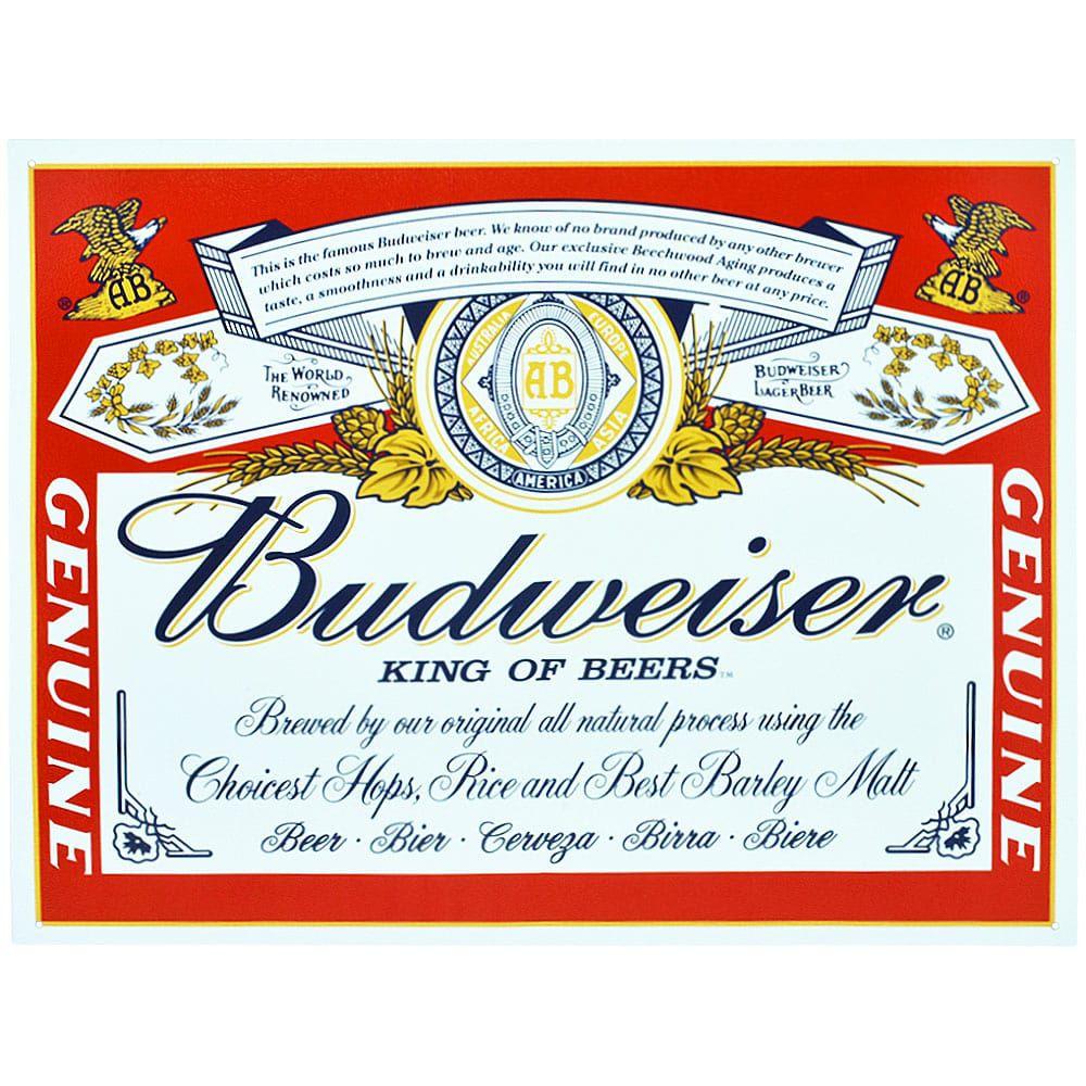 Placa Decorativa Importada de Metal Budweiser