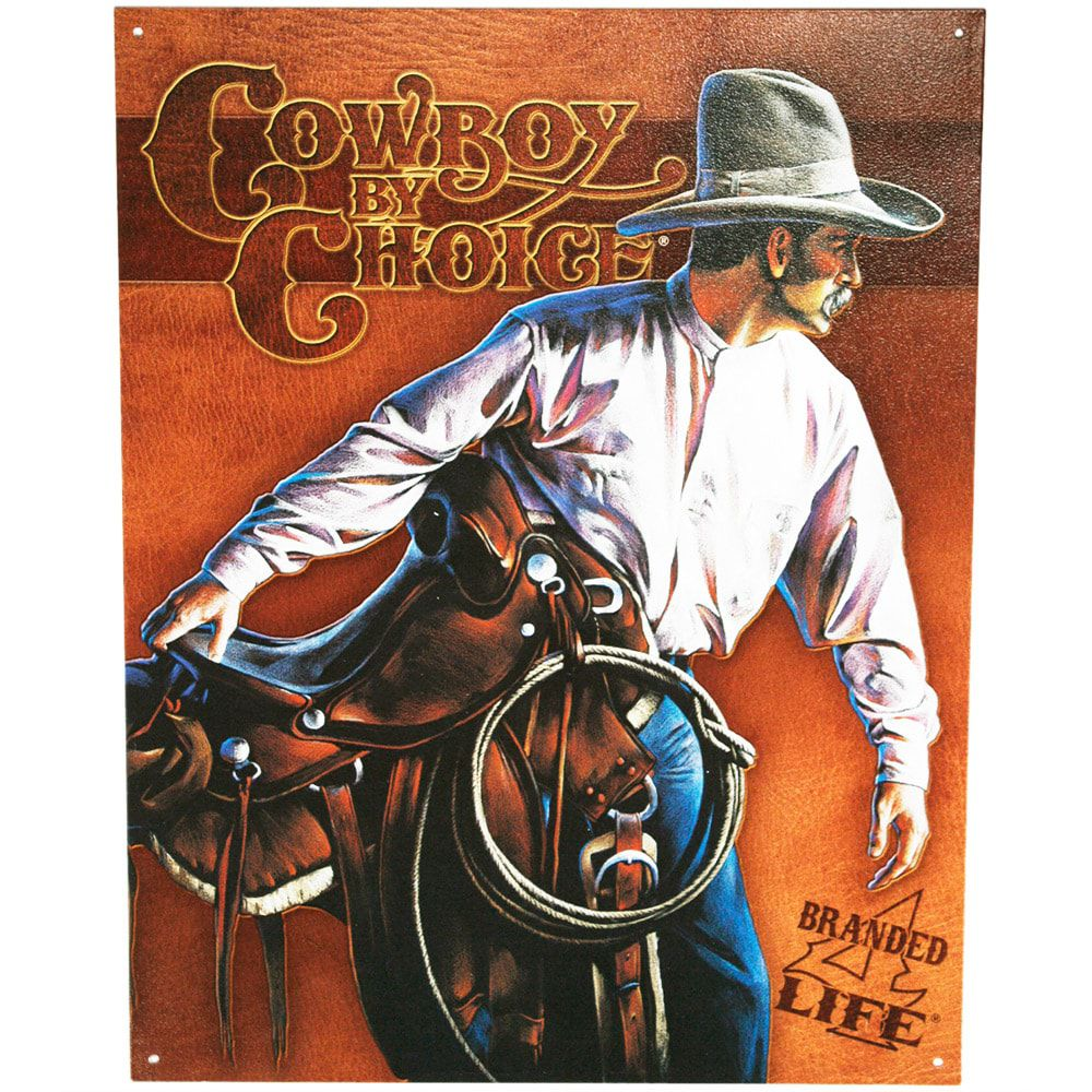 Placa de Metal Cowboy By Choice Country