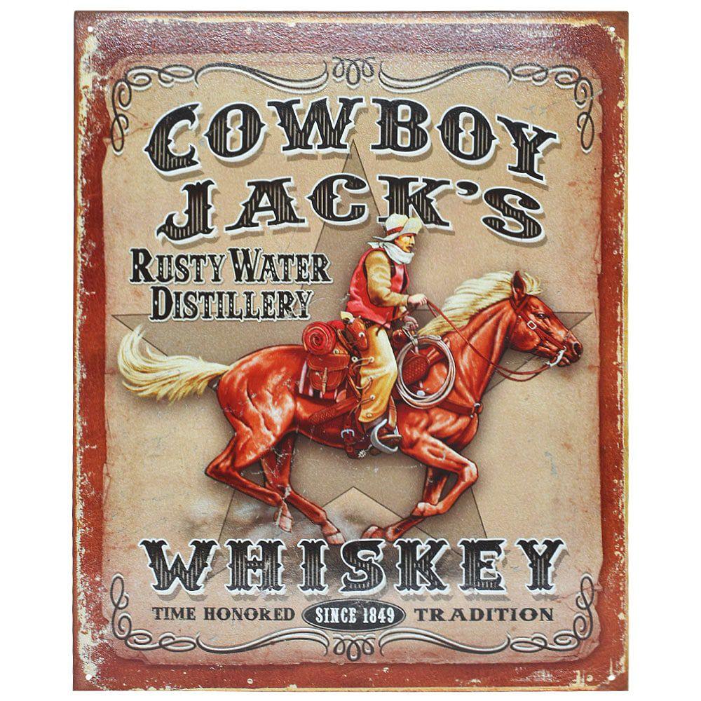 Placa Decorativa Importada de Metal Cowboy Jack's