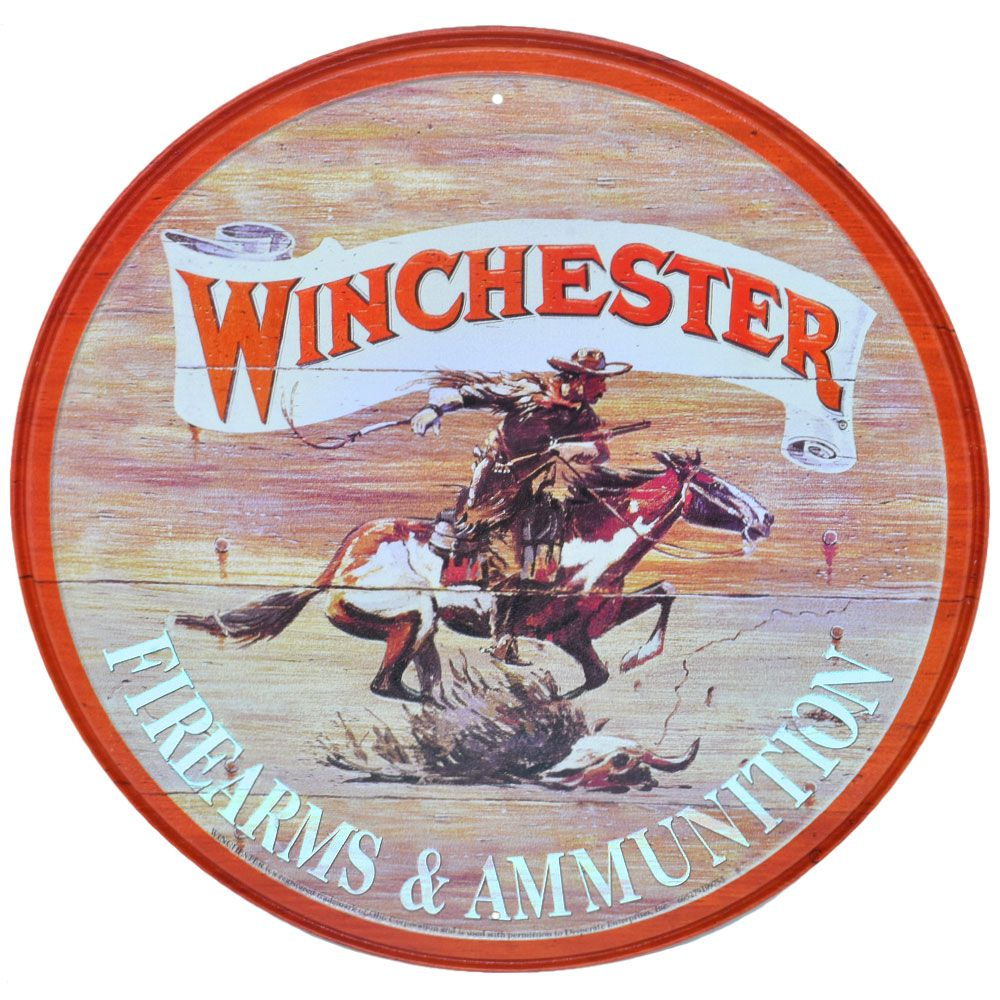 Placa Decorativa Importada de Metal Redonda Winchester