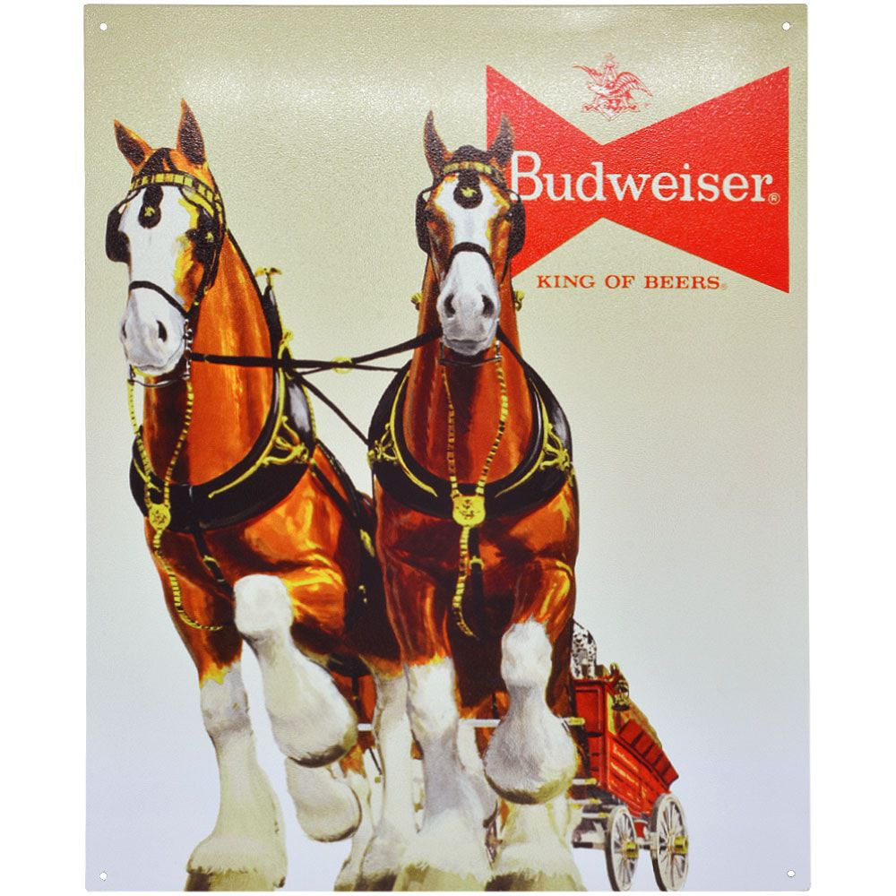 Placa Decorativa Importada de Metal Budweiser Team