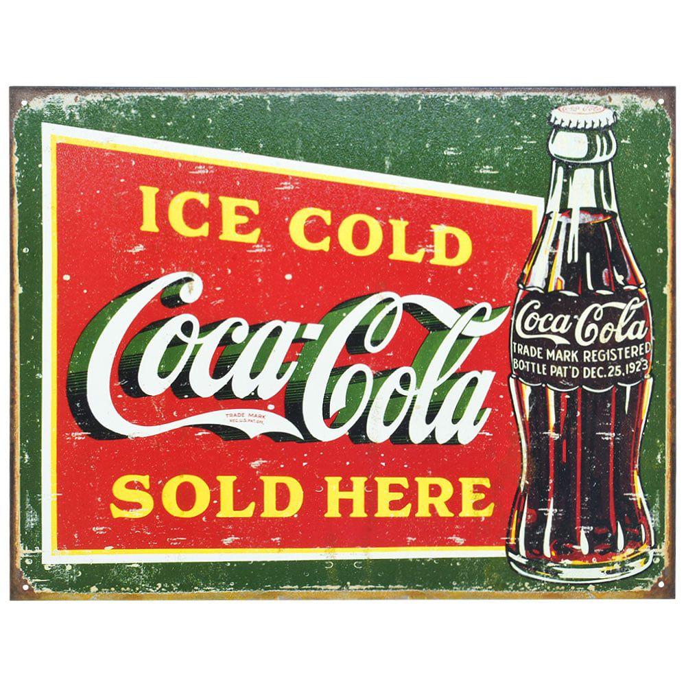 Placa Decorativa Importada de Metal Coca-Cola