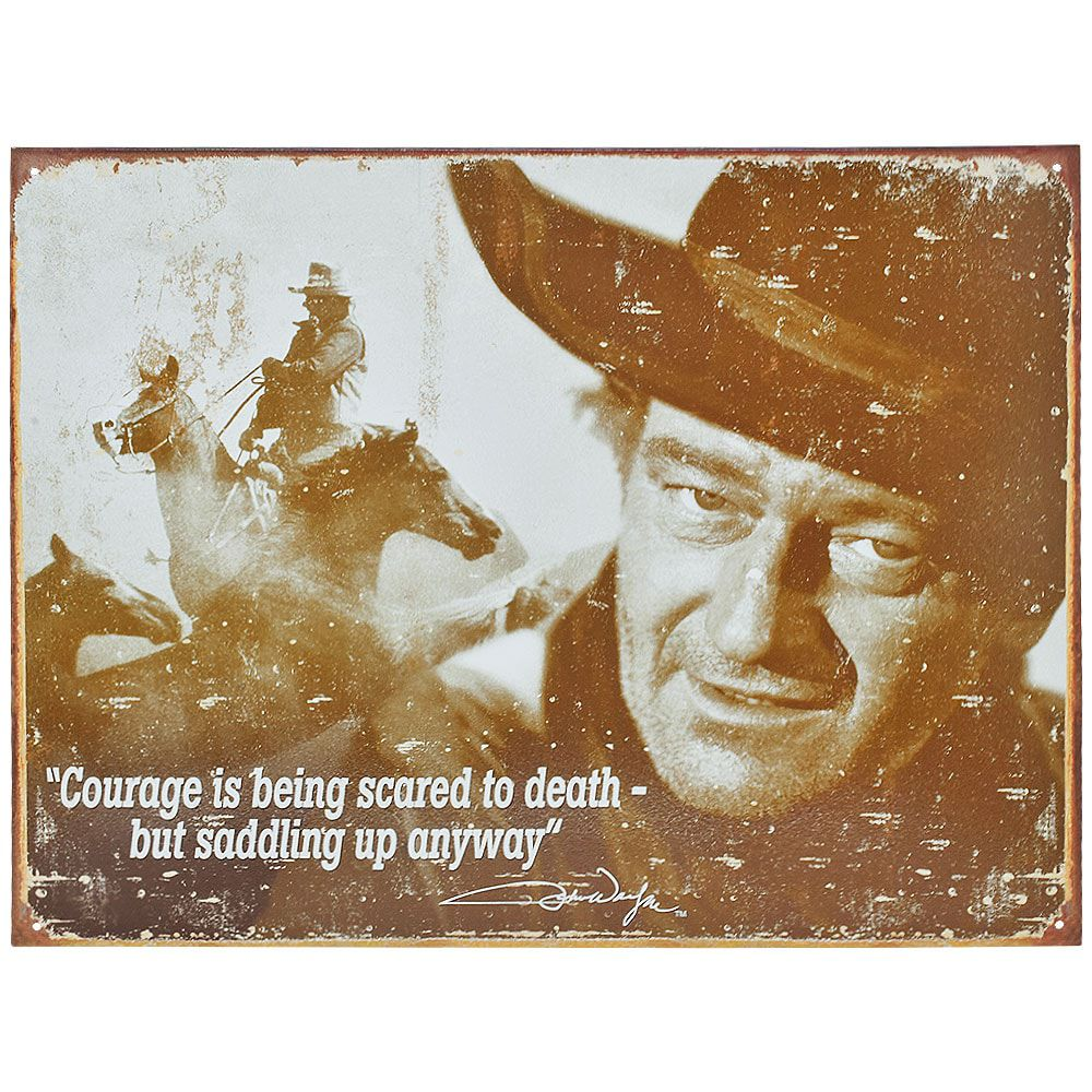 Placa Decorativa Importada de Metal John Wayne Courage