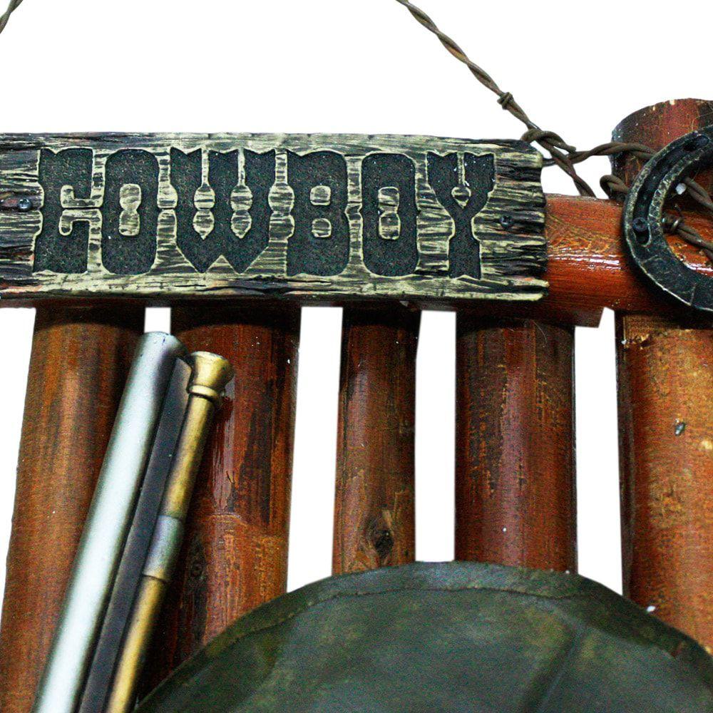 Placa Decorativa em Madeira e Resina Cowboy Estilo Country Western