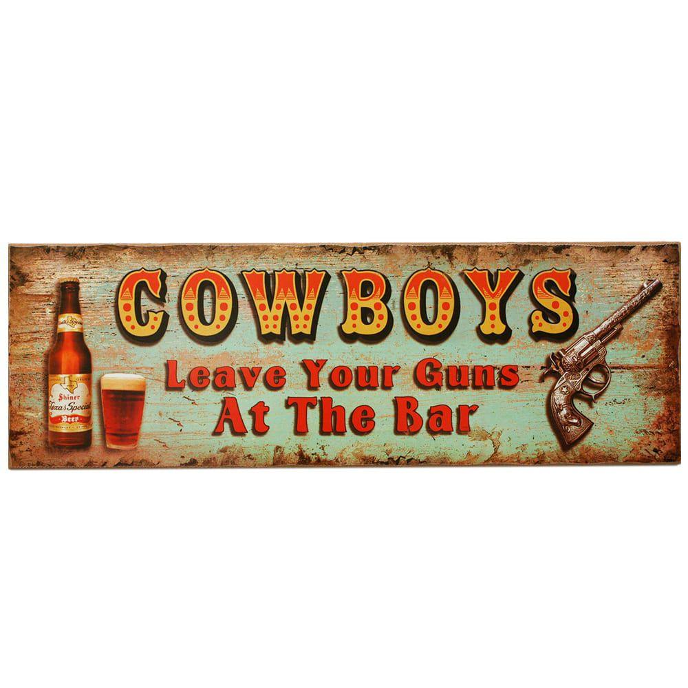 Placa Decorativa em Madeira para Cowboys