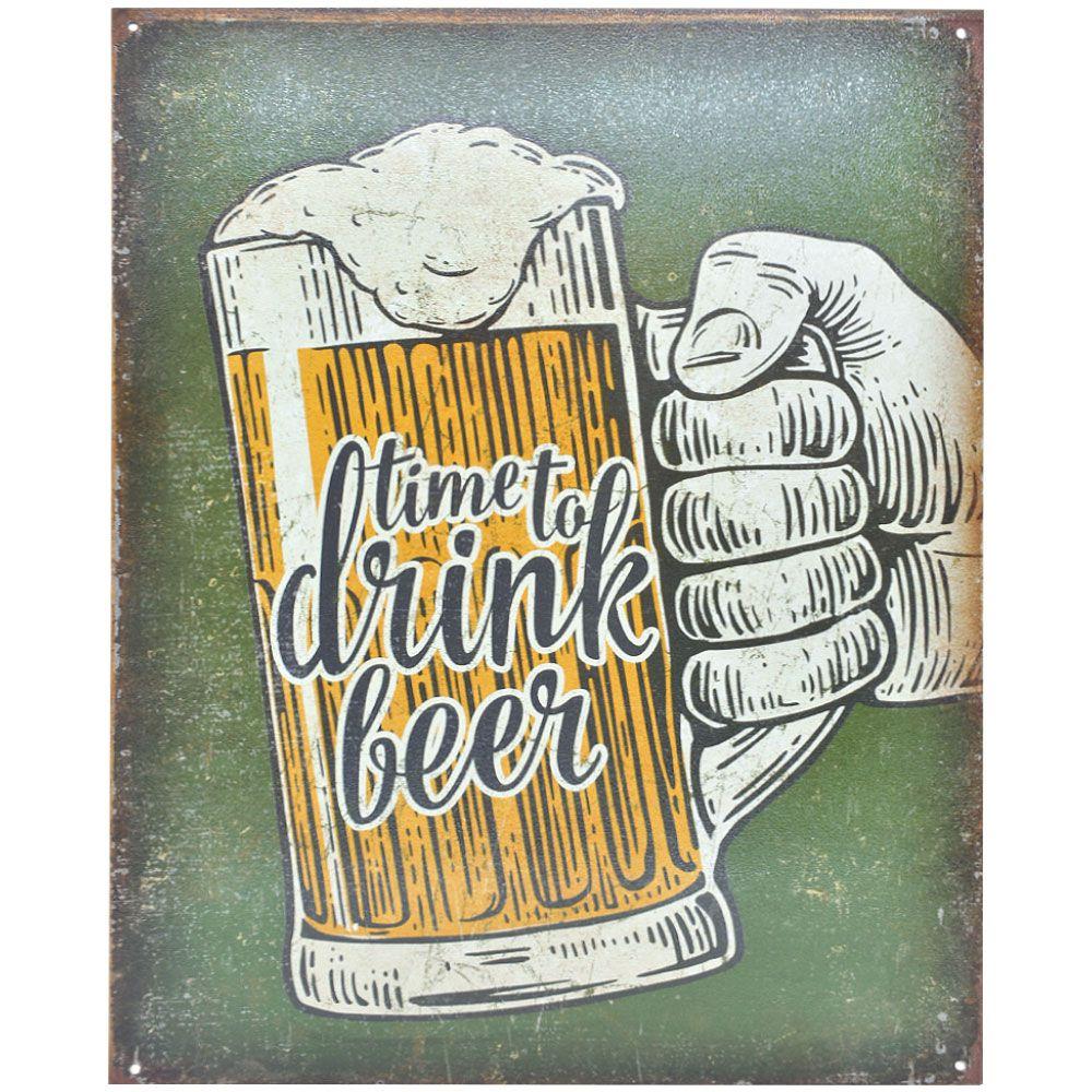 Placa Decorativa Importada de Metal Time to Drink Beer