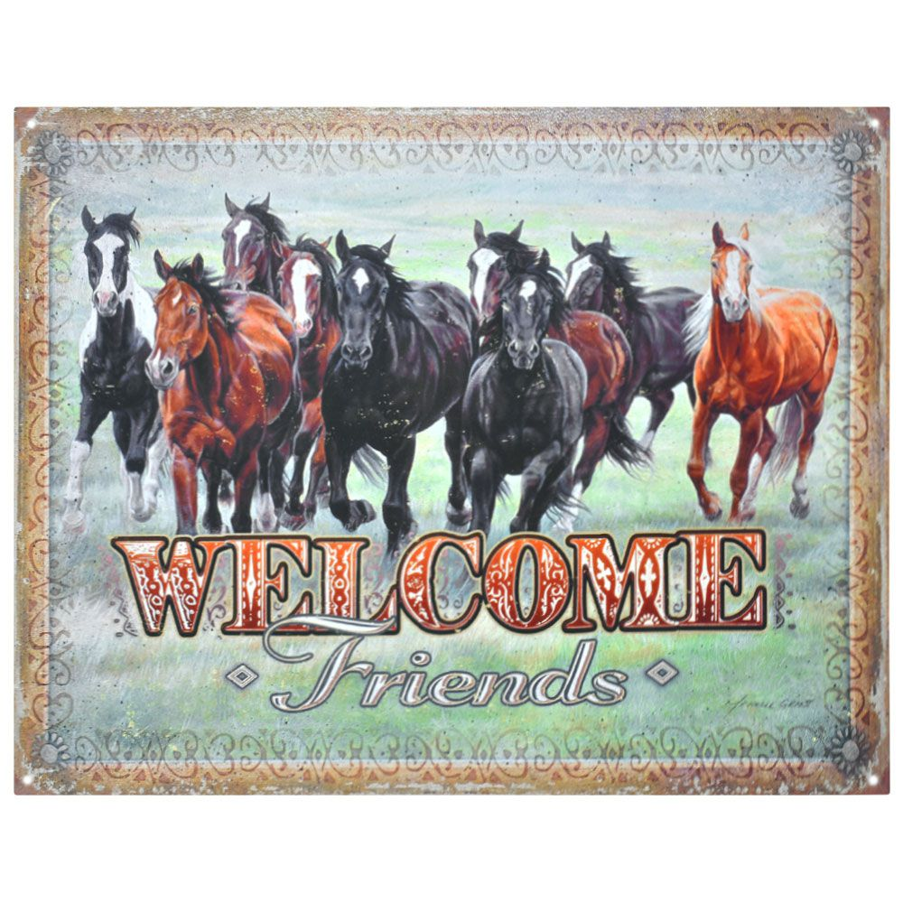 Placa Decorativa Importada de Metal Welcome Friends
