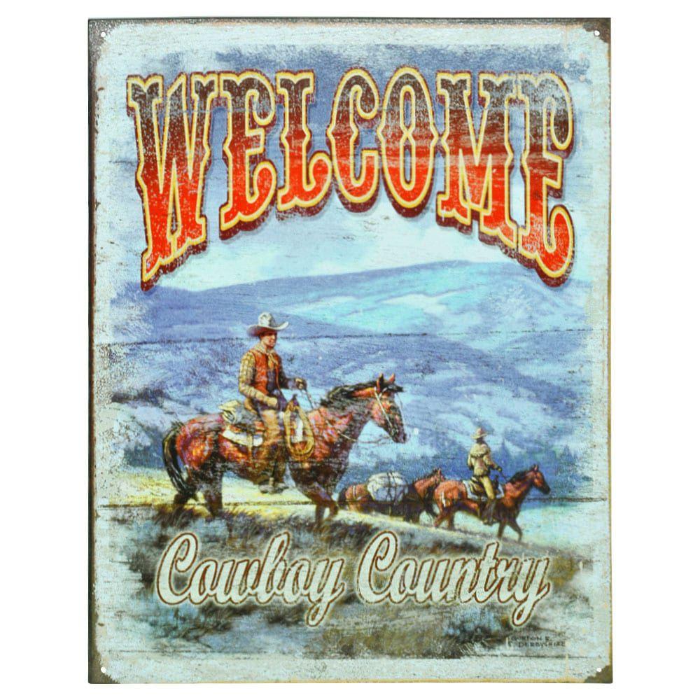 Placa Decorativa Importada de Metal Welcome Cowboy