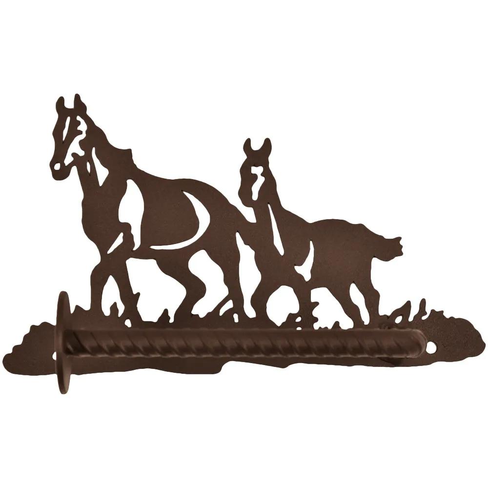 Porta Papel Higiênico de Metal Importado Dois Cavalos