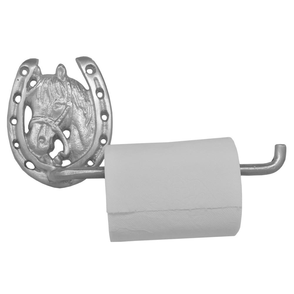 Porta Papel Higiênico de Metal Importado Cavalo e Ferradura Prateada