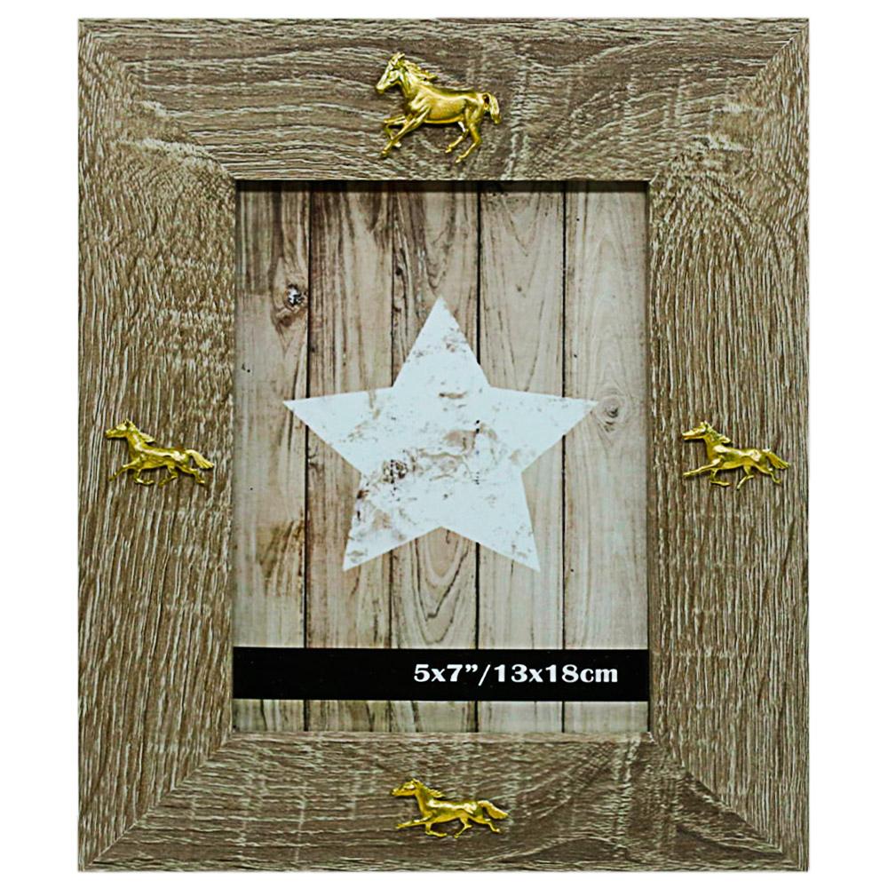 Porta-retrato Cavalos Dourados Importado de Madeira