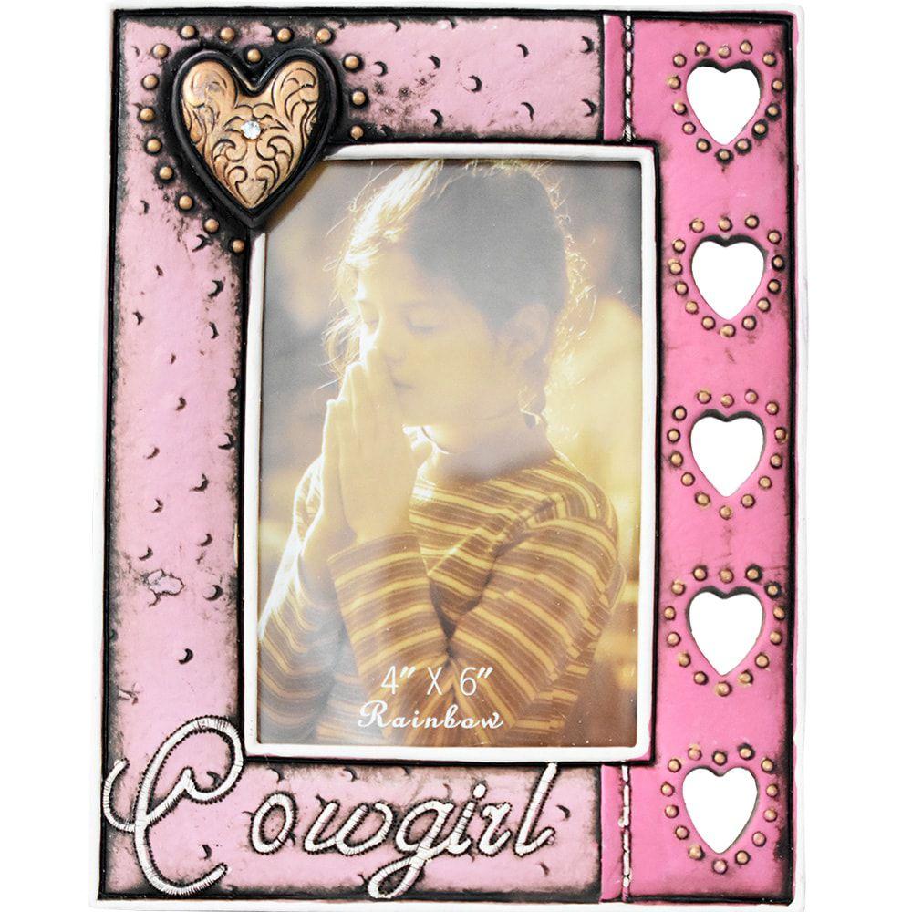 Porta Retrato Feminino Importado Cowgirl Rosa Coração