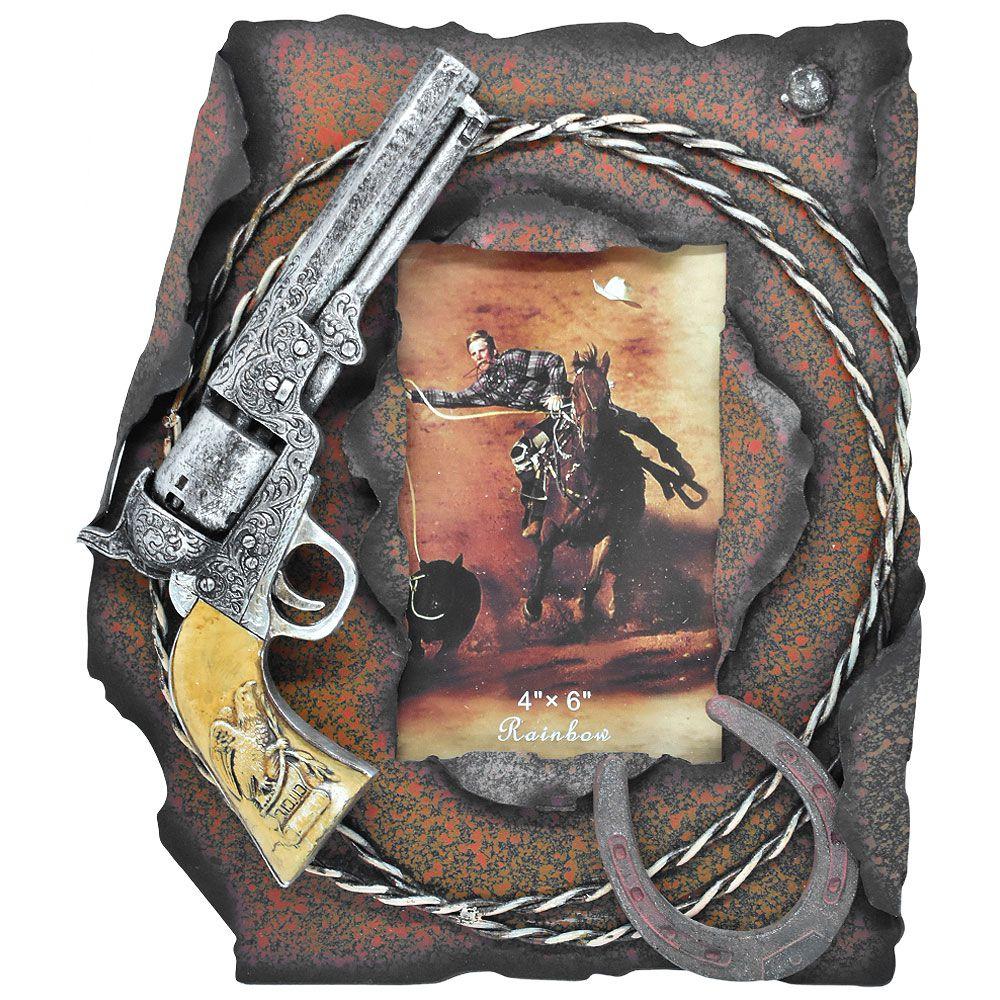 Porta Retrato Importado em Ferro Revolver e Ferradura
