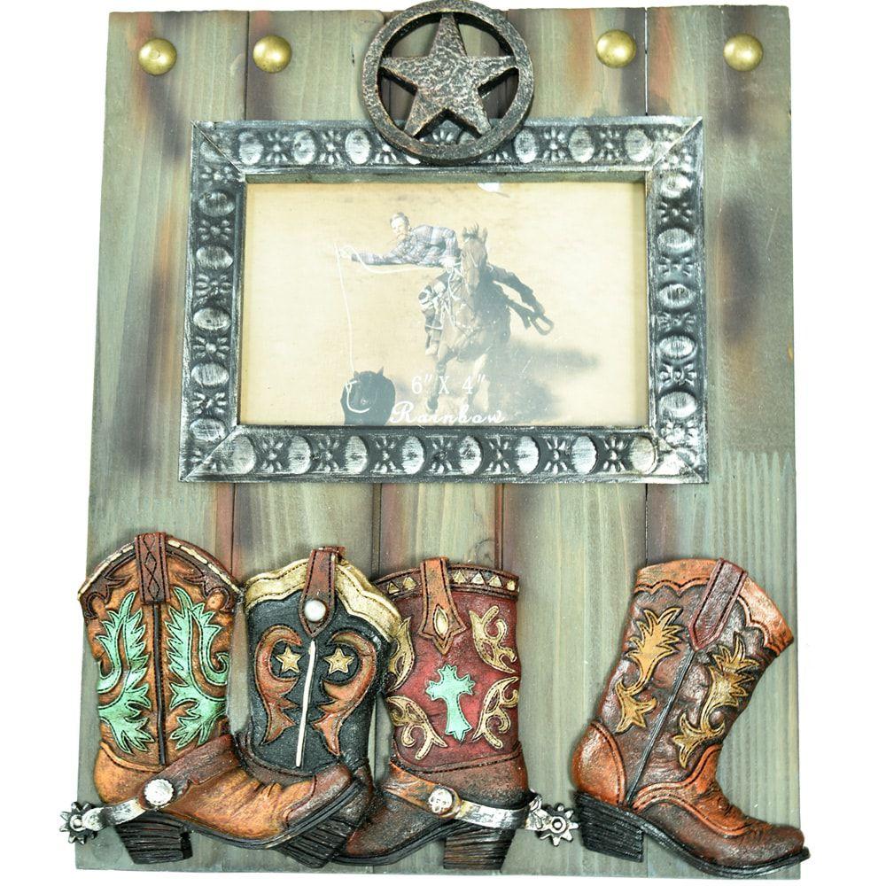 Porta Retrato Importado Em Madeira Boots & Stars